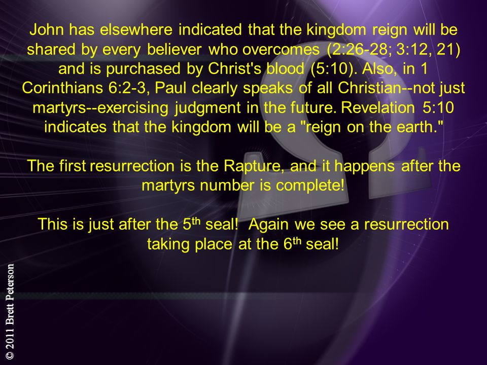 John has elsewhere indicated that the kingdom reign will be shared by every believer who overcomes (2:26-28; 3:12, 21) and is purchased by Christ s blood (5:10).