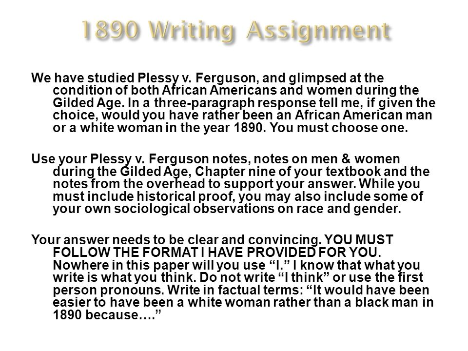 1890 Writing Assignment