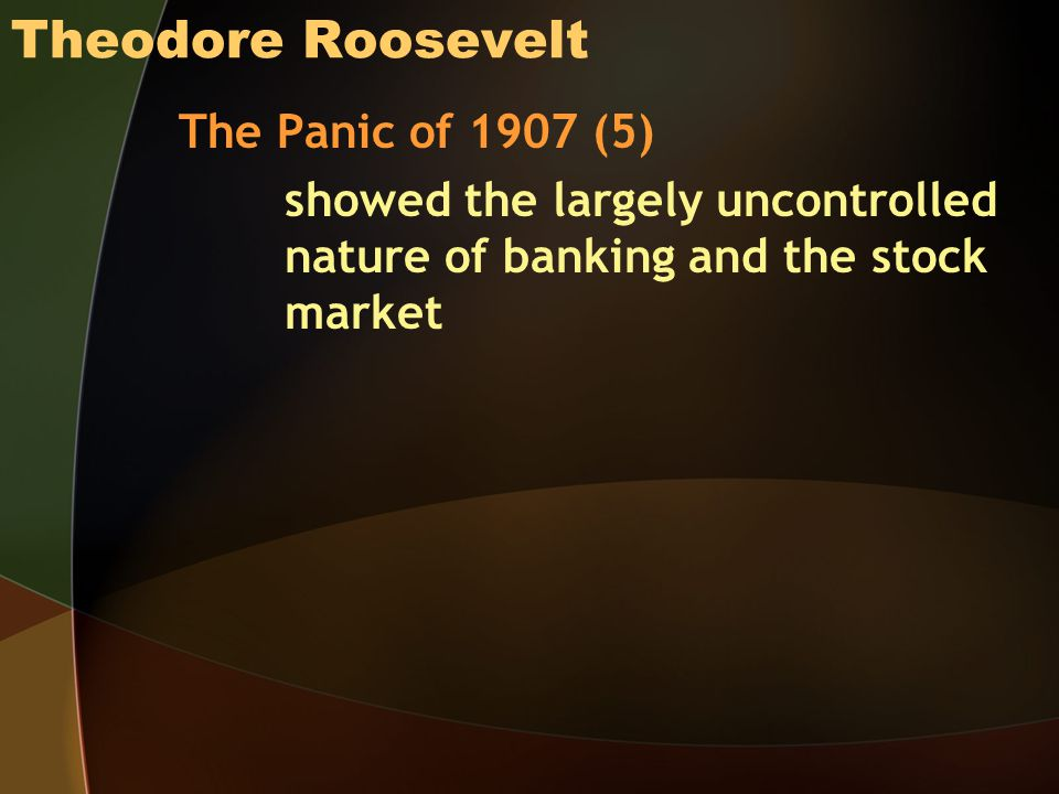Theodore Roosevelt The Panic of 1907 (5)