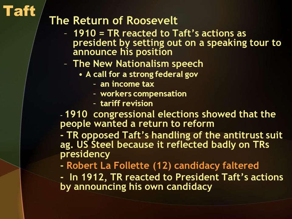 Taft The Return of Roosevelt