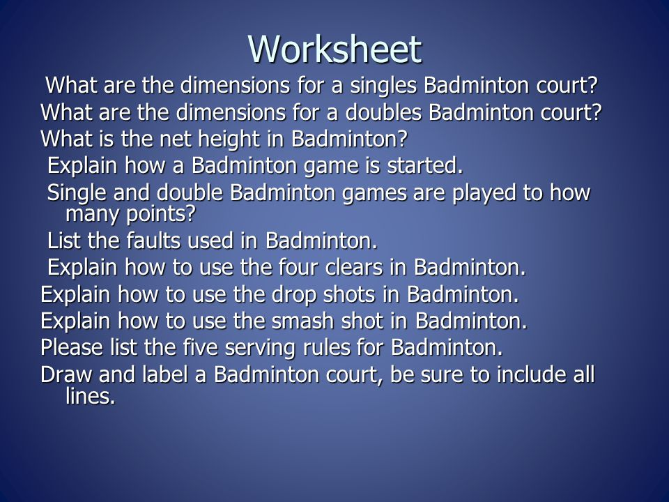 Worksheet What are the dimensions for a doubles Badminton court
