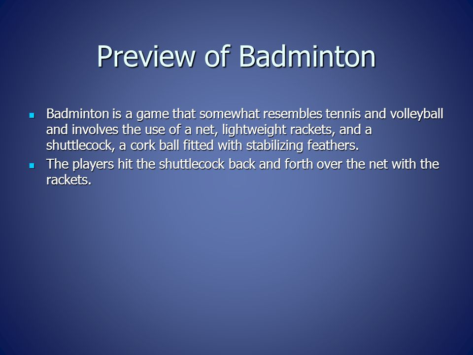 Preview of Badminton
