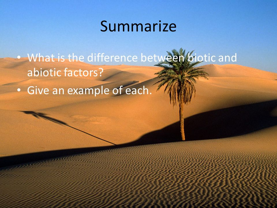 Summarize What is the difference between biotic and abiotic factors