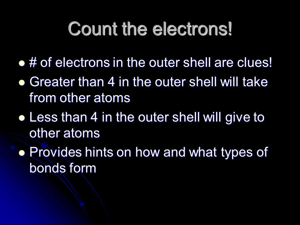 Count the electrons! # of electrons in the outer shell are clues!