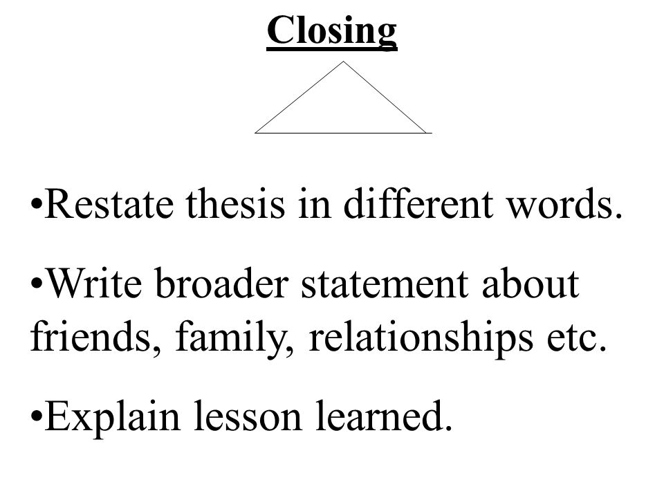 Restate thesis in different words.