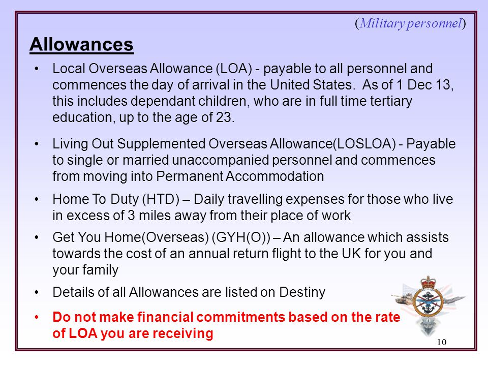 (Military personnel) Allowances