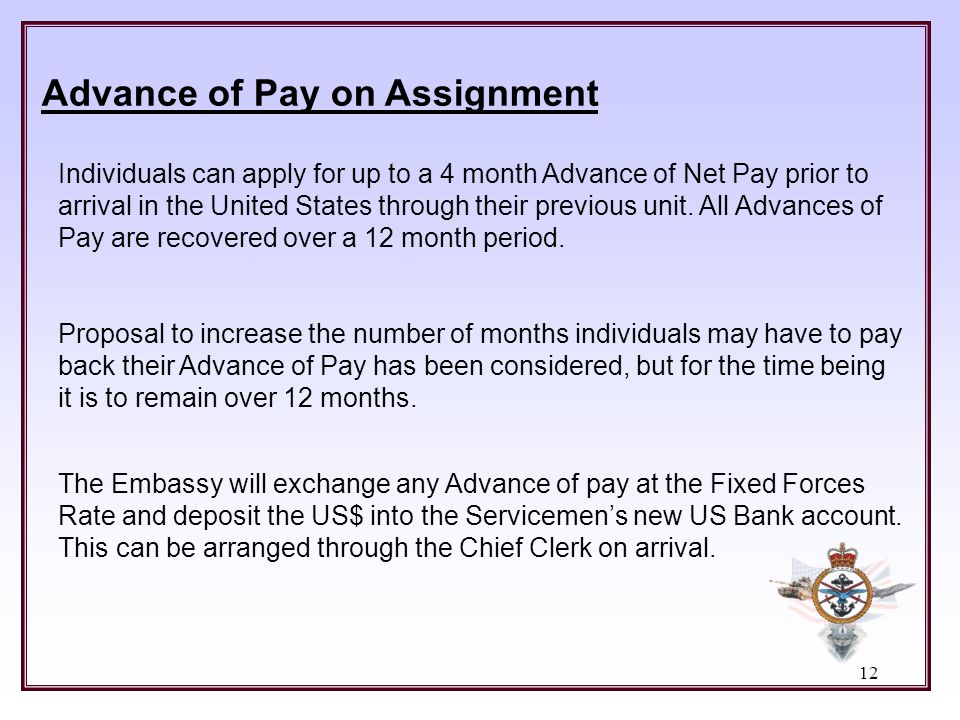 Advance of Pay on Assignment