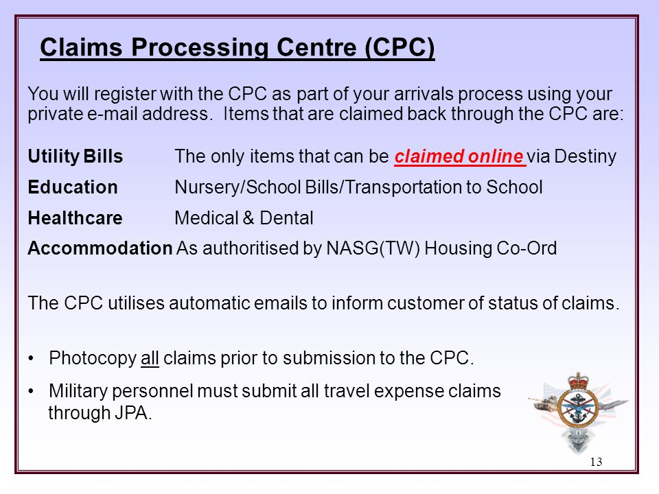Claims Processing Centre (CPC)