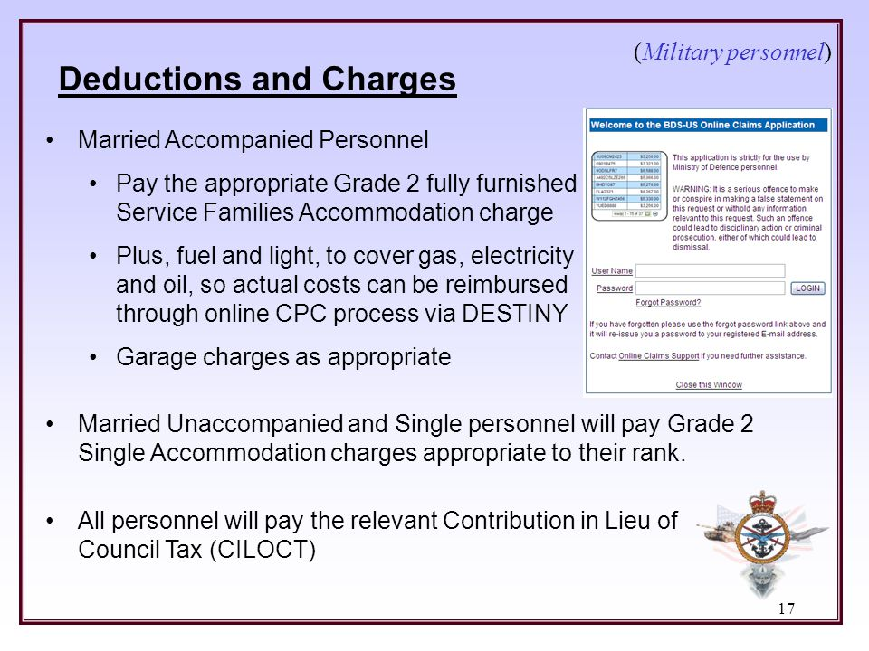Deductions and Charges