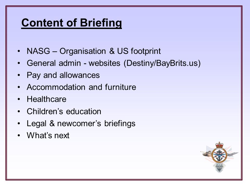 Content of Briefing NASG – Organisation & US footprint