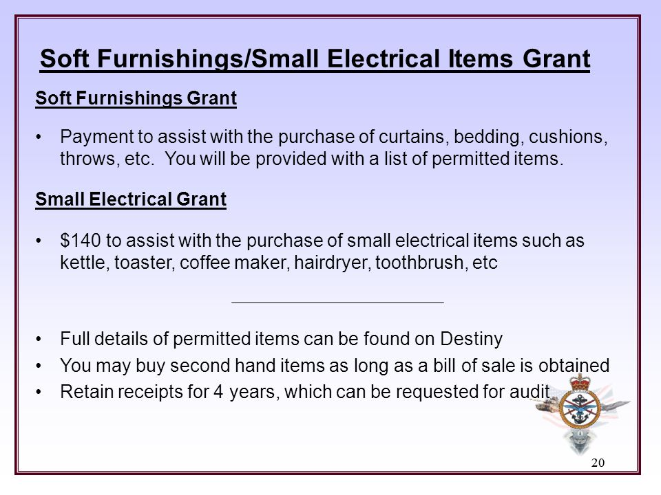 Soft Furnishings/Small Electrical Items Grant