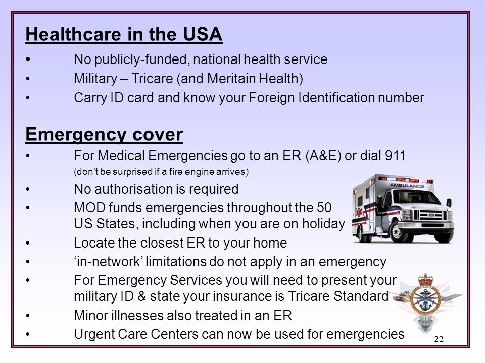 Healthcare in the USA Emergency cover