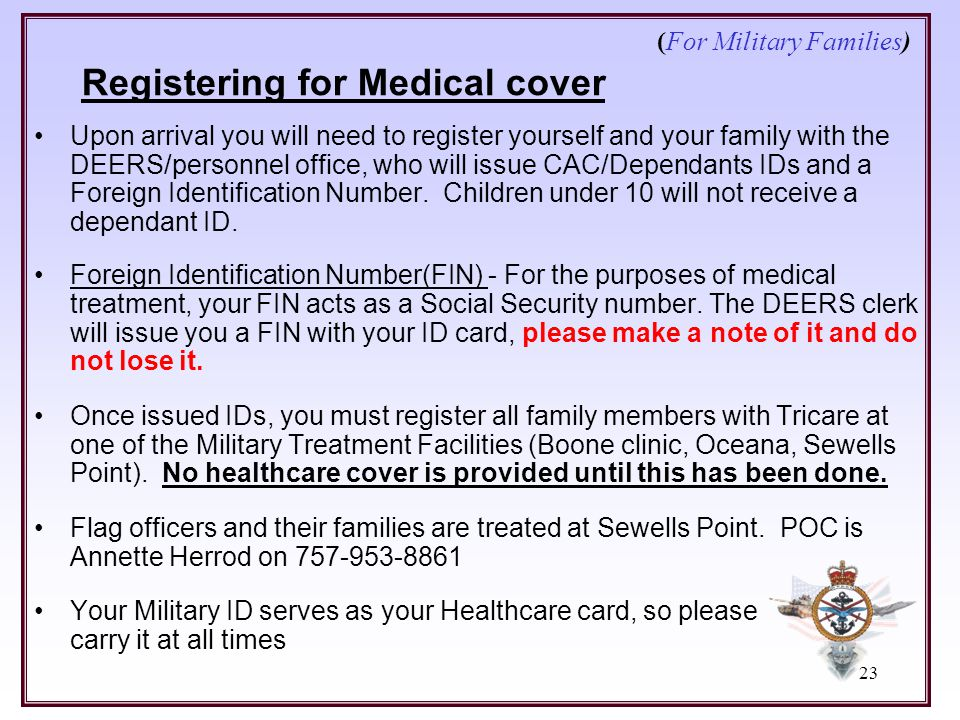 (For Military Families) Registering for Medical cover