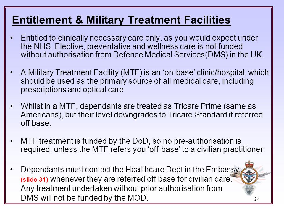 Entitlement & Military Treatment Facilities