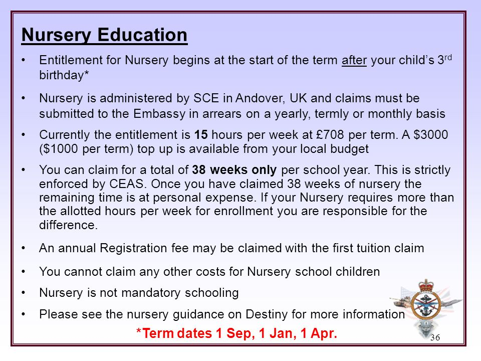Nursery Education *Term dates 1 Sep, 1 Jan, 1 Apr.