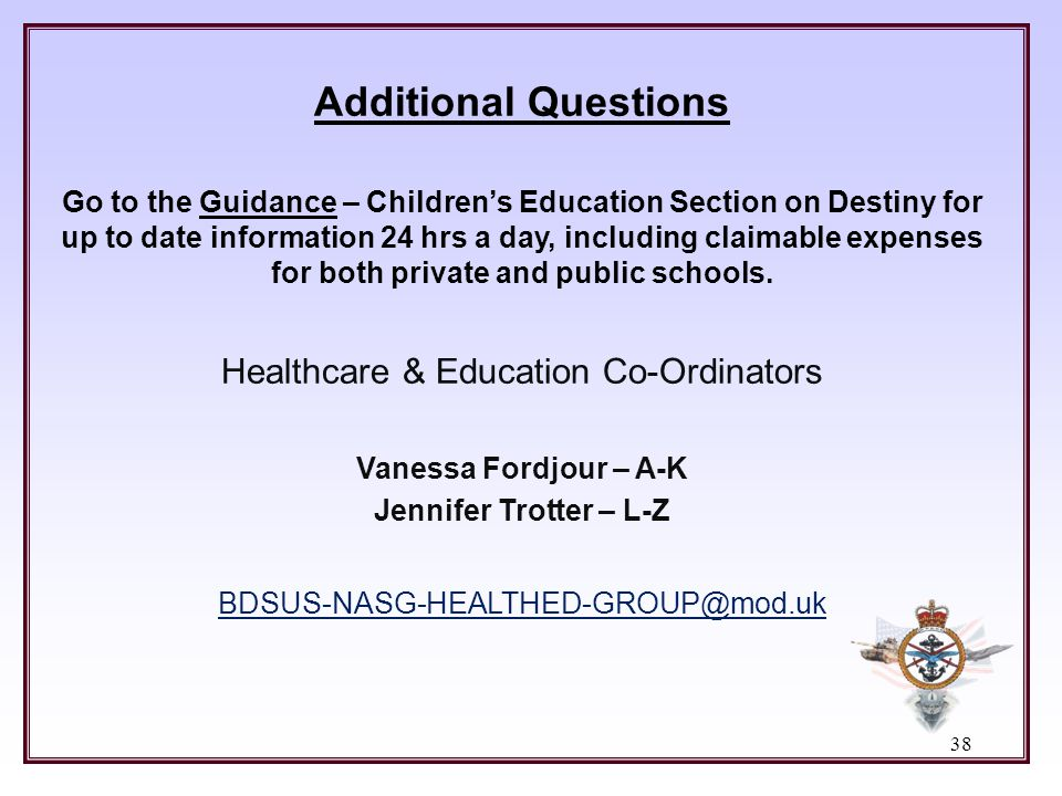 Healthcare & Education Co-Ordinators