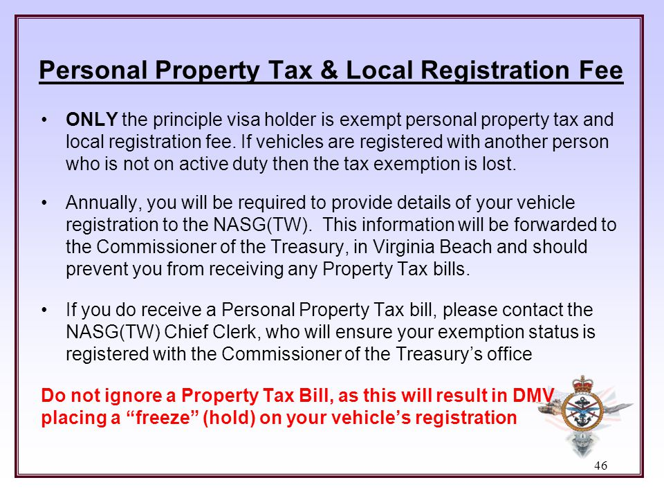 Personal Property Tax & Local Registration Fee