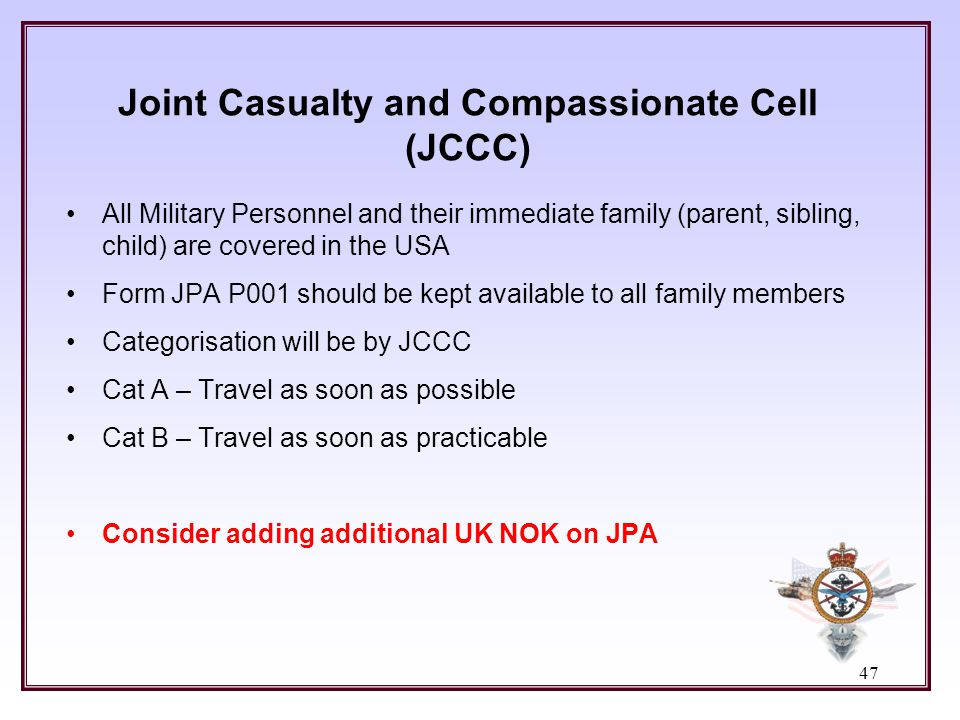 Joint Casualty and Compassionate Cell (JCCC)