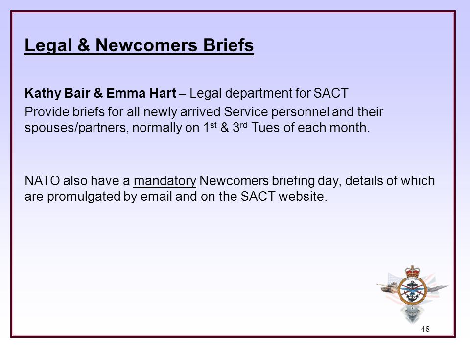 Legal & Newcomers Briefs