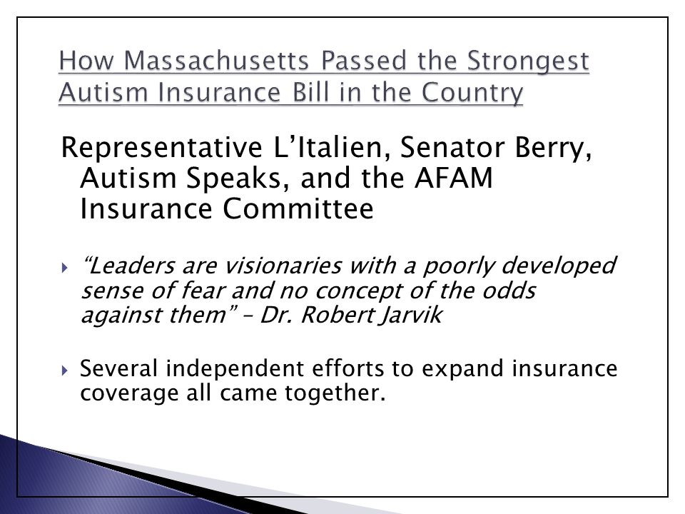 How Massachusetts Passed the Strongest Autism Insurance Bill in the Country