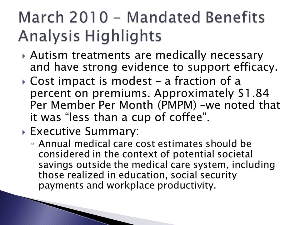 March 2010 - Mandated Benefits Analysis Highlights