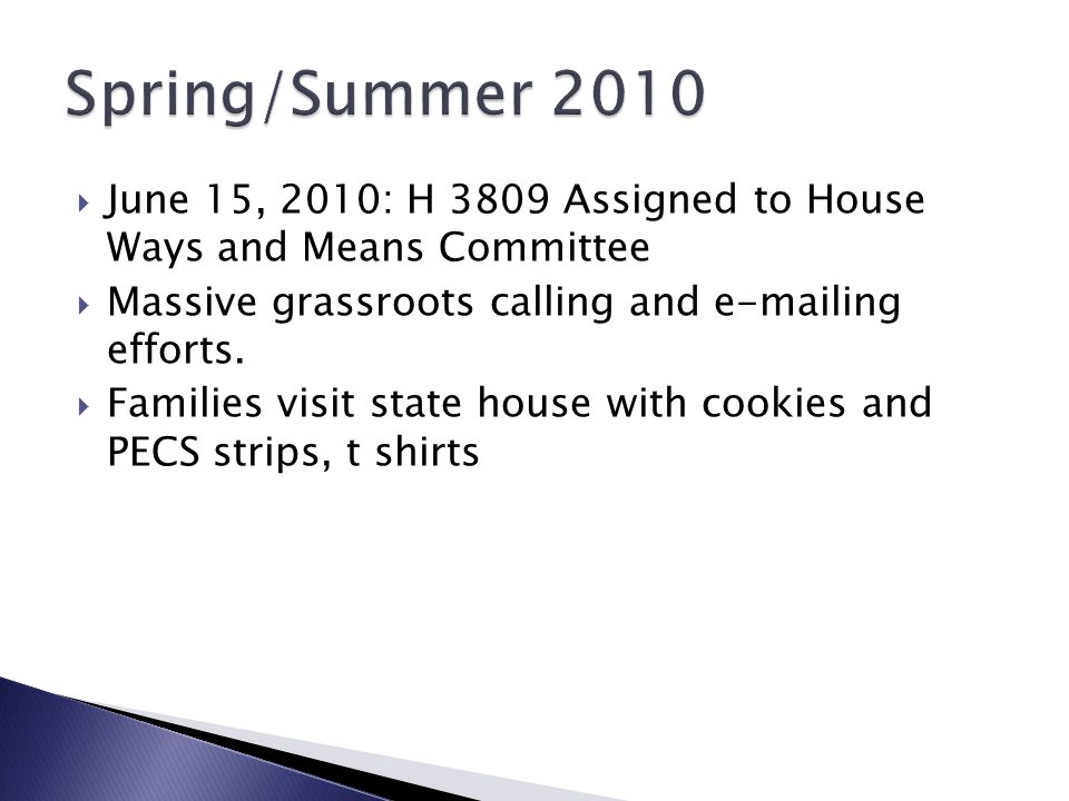 Spring/Summer 2010 June 15, 2010: H 3809 Assigned to House Ways and Means Committee. Massive grassroots calling and e-mailing efforts.