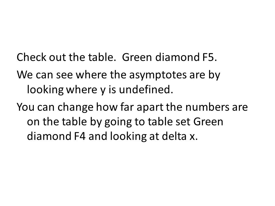 Check out the table. Green diamond F5