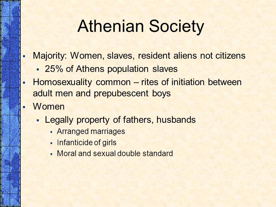 Athenian Society Majority: Women, slaves, resident aliens not citizens