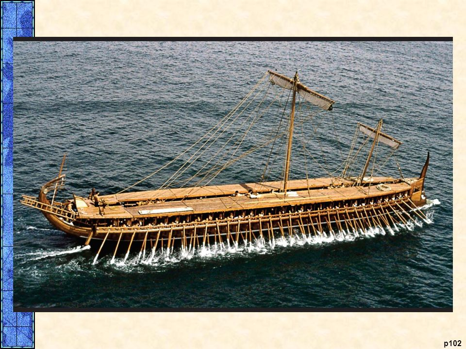 The Greek Trireme. The trireme became the standard warship of ancient Greece. Highly maneuverable, fast, and outfitted with metal prows, Greek triremes were especially effective at ramming enemy ships. The bas-relief at the bottom shows a fifth-century