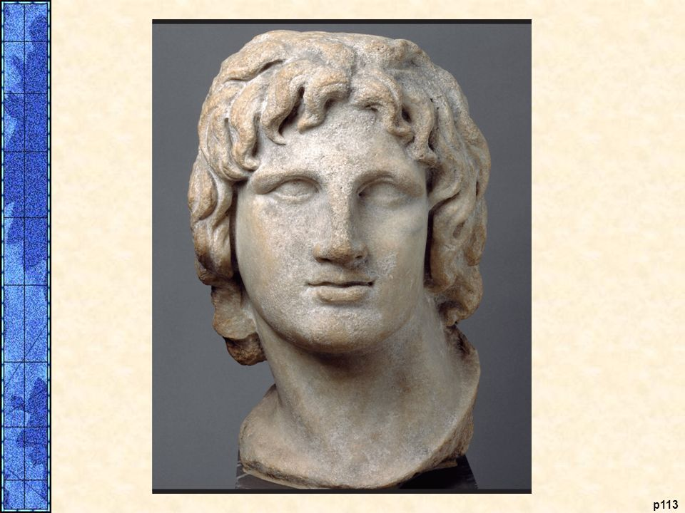 Alexander the Great. This marble head of Alexander the Great was made in the second or first century B.C.E. The long hair and tilt of his head reflect the description of Alexander in the literary sources of the time. Alexander claimed to be descended from Heracles, a Greek hero worshiped as a god, and when he proclaimed himself pharaoh of Egypt, he gained recognition as a living deity. It is reported that one statue, now lost, showed Alexander gazing at Zeus. At the base of the statue were the words