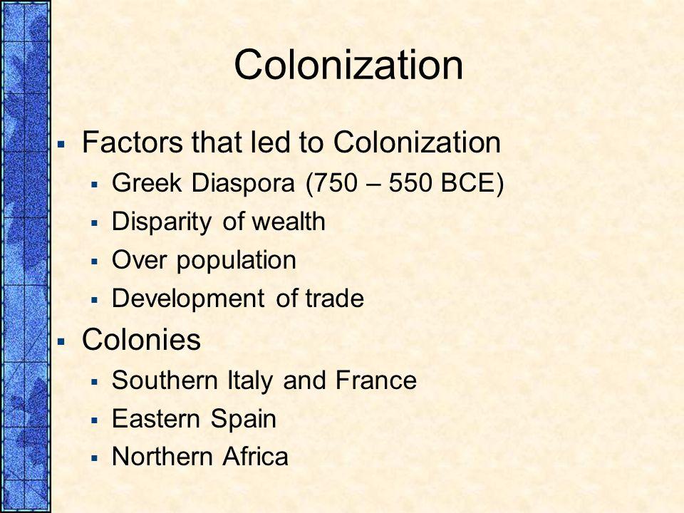 Colonization Factors that led to Colonization Colonies