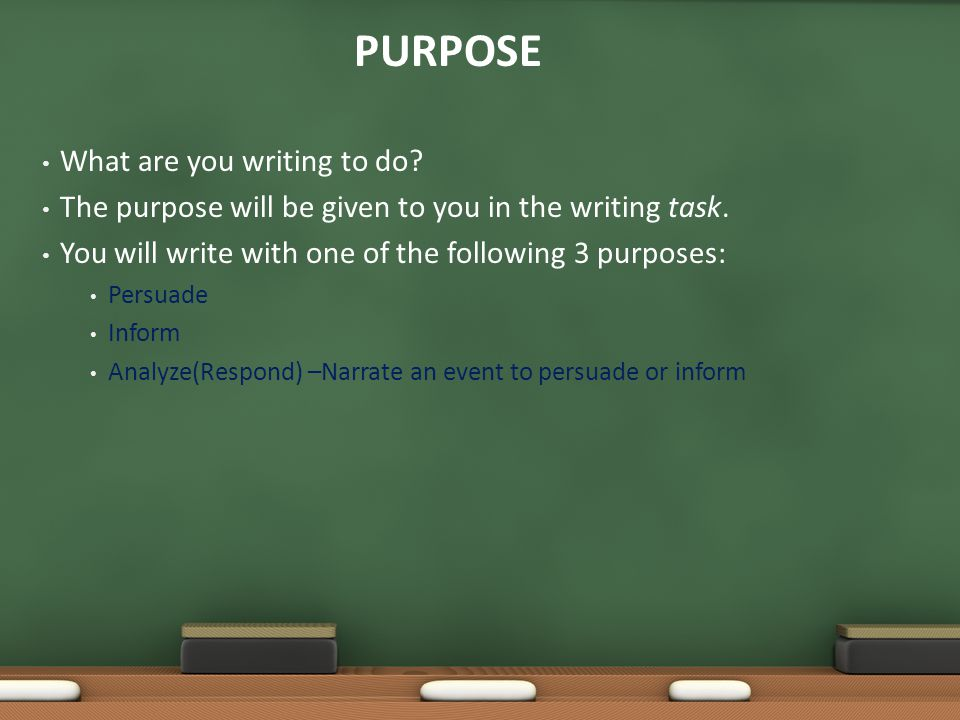 PURPOSE What are you writing to do