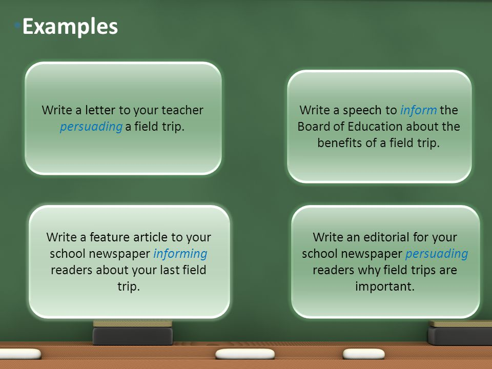 Write a letter to your teacher persuading a field trip.