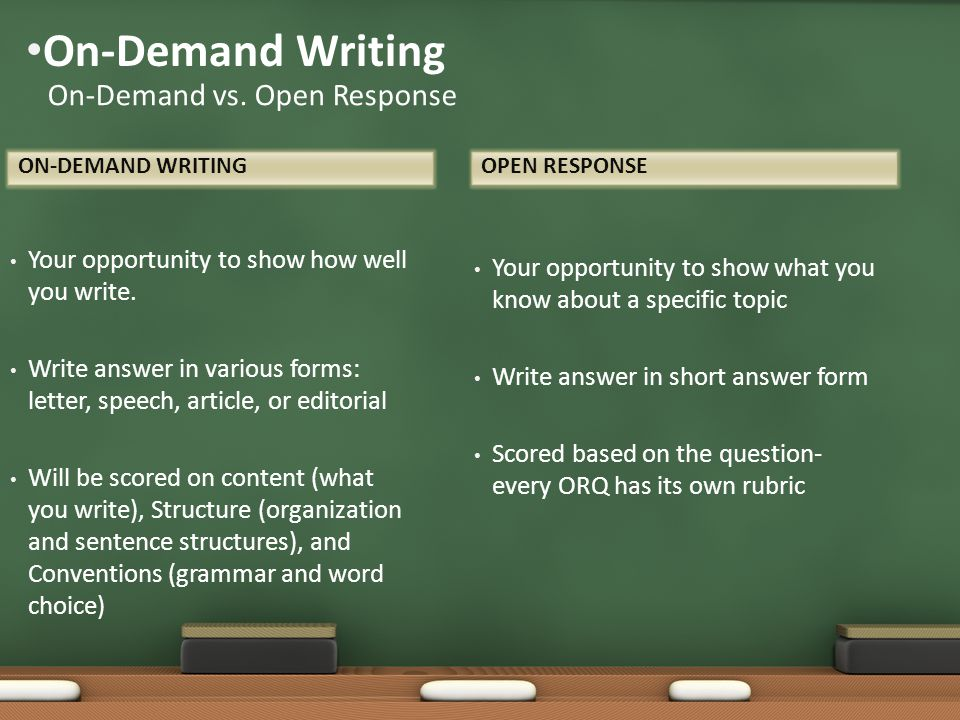 On-Demand Writing On-Demand vs. Open Response
