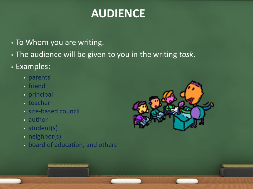 AUDIENCE To Whom you are writing.