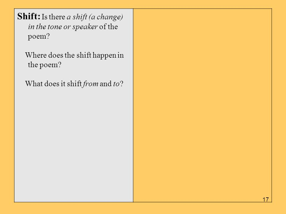 Shift: Is there a shift (a change) in the tone or speaker of the poem