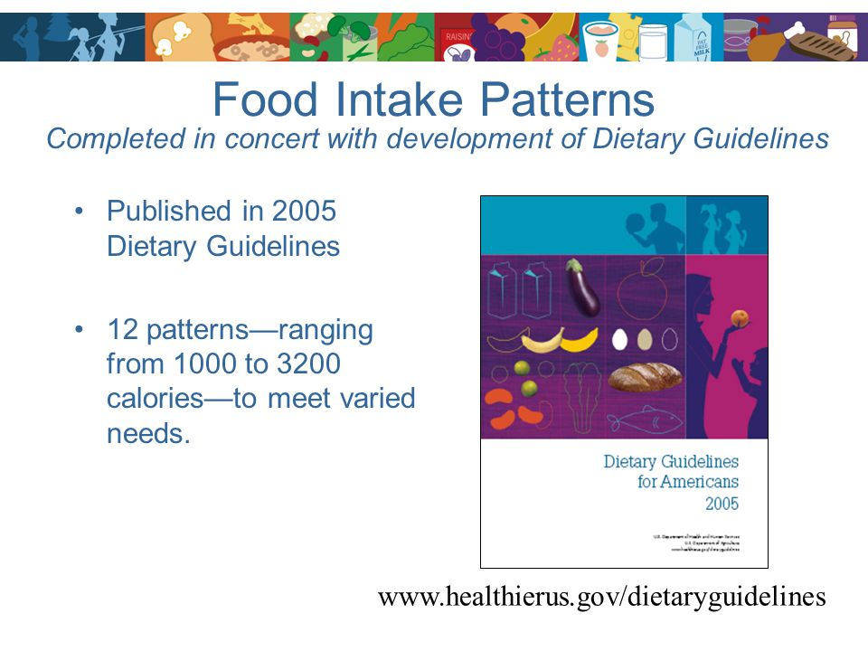 Food Intake Patterns Completed in concert with development of Dietary Guidelines. Published in 2005 Dietary Guidelines.