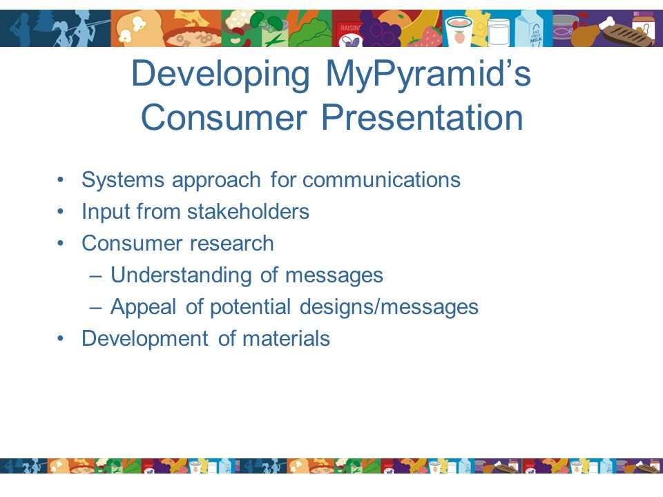 Developing MyPyramid's Consumer Presentation