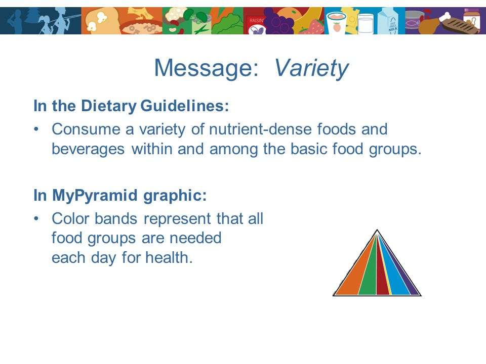 Message: Variety In the Dietary Guidelines: