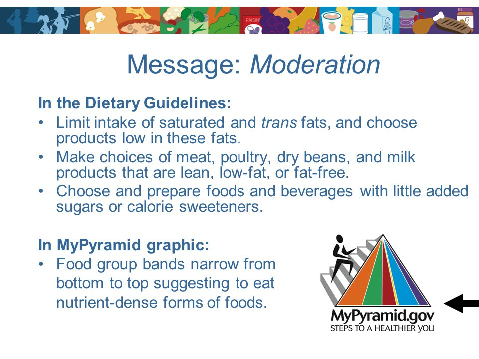 Message: Moderation In the Dietary Guidelines: