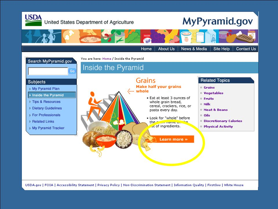 Another way to access information is through the Inside the Pyramid pages. Detailed information about each food group and related topics can be found on these pages.