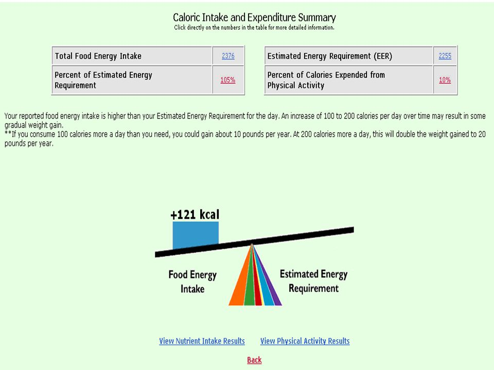 This screen shows how MyPyramid Tracker depicts energy balance—caloric intake v.