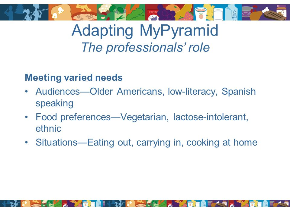 Adapting MyPyramid The professionals' role