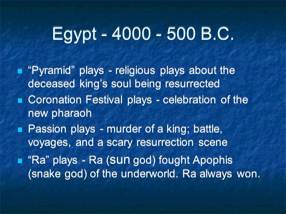 Egypt - 4000 - 500 B.C. Pyramid plays - religious plays about the deceased king's soul being resurrected.