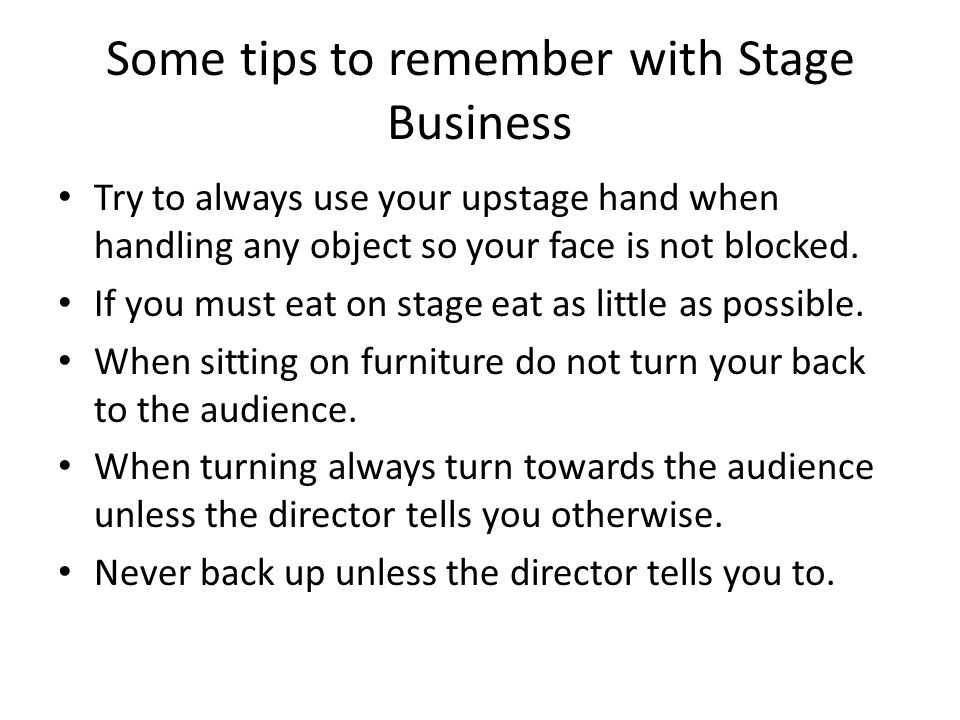 Some tips to remember with Stage Business