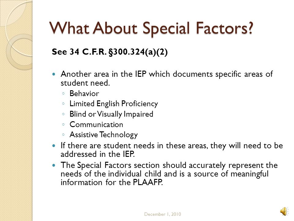 What About Special Factors