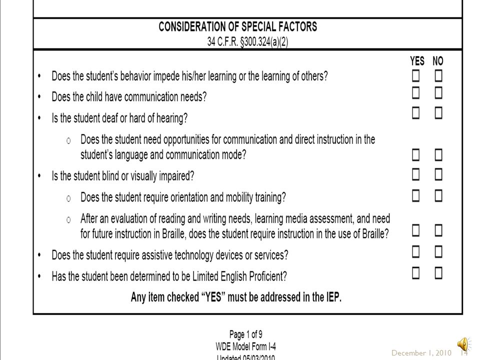 Above is the Special Factors section of the WDE model IEP form