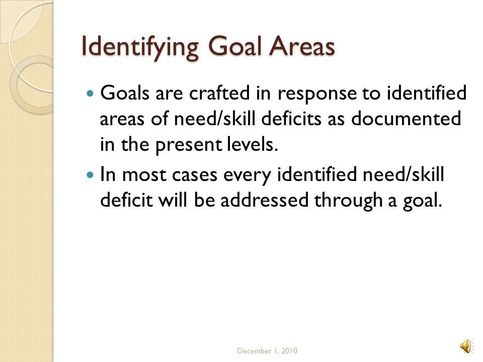 Identifying Goal Areas