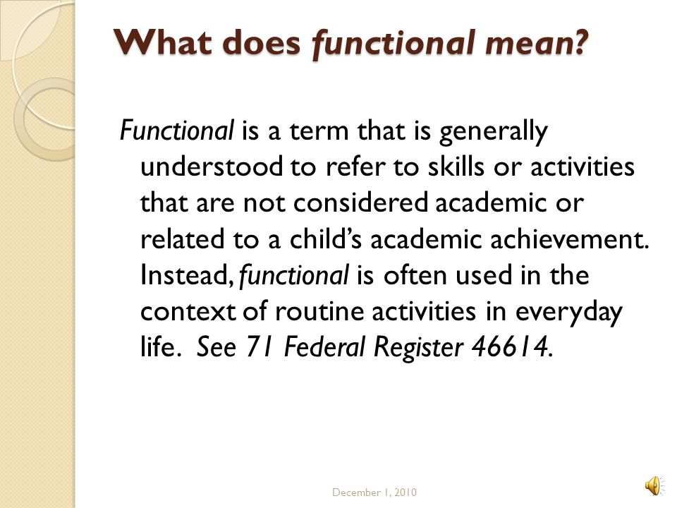 What does functional mean