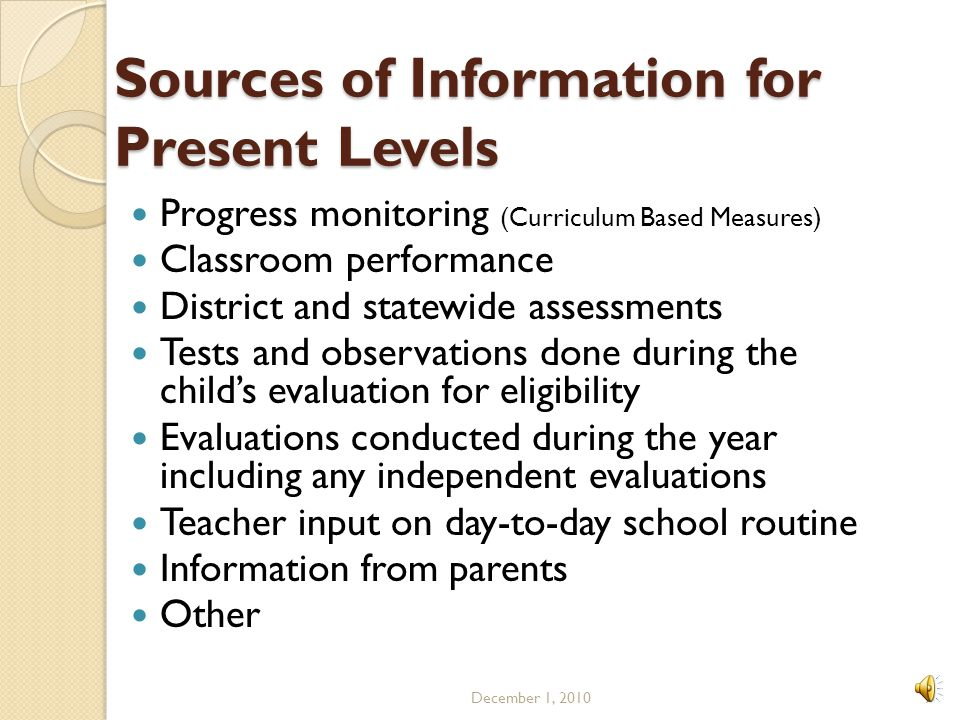 Sources of Information for Present Levels